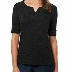 Ellen Tracy Women Cotton Lycra V-Neck T-Shirt